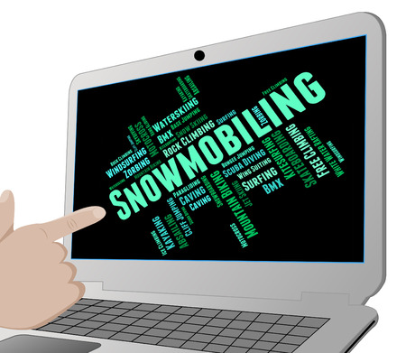 winter sport: Snowmobiling Word Meaning Winter Sport And Sledding Stock Photo