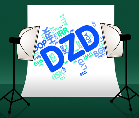 dinar: Dzd Currency Showing Algerian Dinar And Market