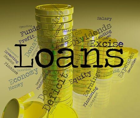 loaning: Loans Word Showing Funding Loaning And Credit