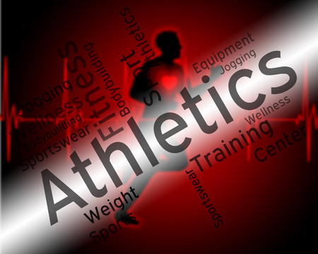 get a workout: Athletics Word Showing Get Fit And Wordcloud