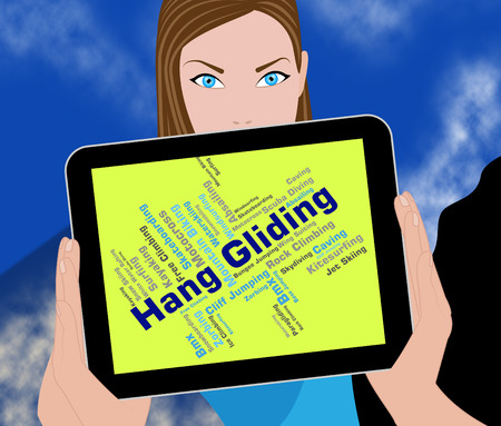 glide: Hang Gliding Indicating Glide Words And Word Stock Photo
