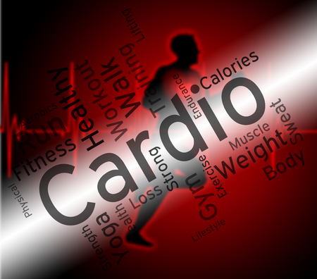 get a workout: Cardio Word Representing Get Fit And Gym