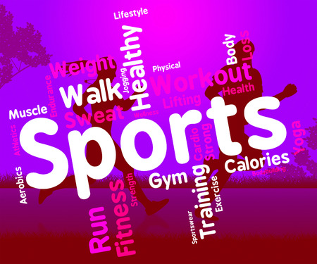 get a workout: Sports Word Meaning Physical Activity And Sporting Stock Photo