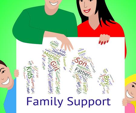 apoyo familiar: Apoyo a la Familia Indicando relación de sangre y la Información Foto de archivo