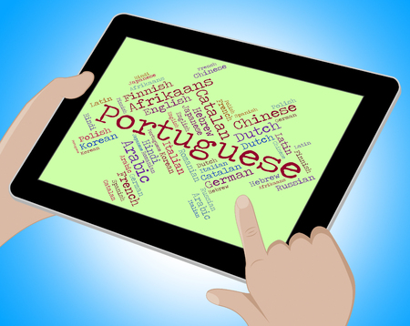 lingo: Portuguese Language Representing Wordcloud Foreign And Lingo Stock Photo