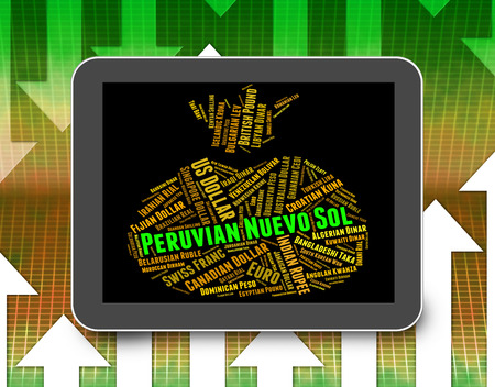 exchange rate: Peruvian Nuevo Sol Representing Exchange Rate And Broker Stock Photo