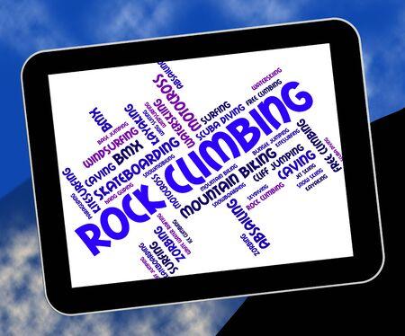 rockclimbing: Rock Climbing Showing Wordcloud Adventure And Cliff