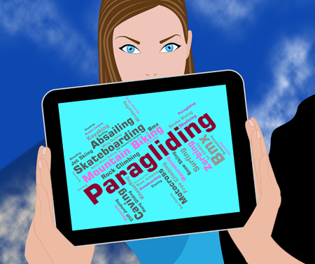 paragliding: Paragliding Word Meaning Paragliders Parachuting And Text