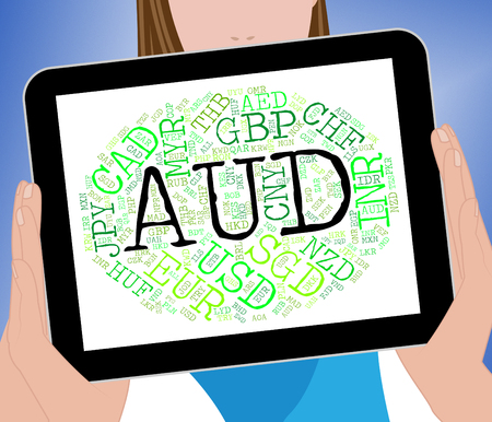 exchange rate: Aud Currency Representing Exchange Rate And Banknotes Stock Photo