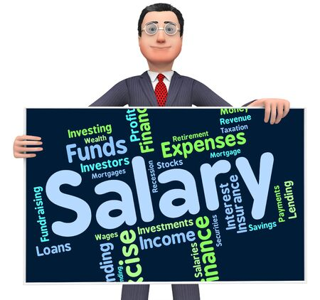 earnings: Salary Word Showing Pay Salaries And Earnings Stock Photo
