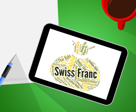 swiss franc: Swiss Franc Showing Foreign Exchange And Word
