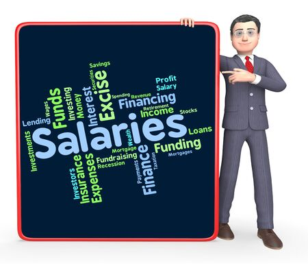 remuneraci�n: Salaries Word Showing Wage Payroll And Pay Foto de archivo