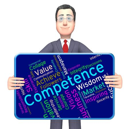 competency: Competence Words Meaning Expertise Text And Competency Stock Photo