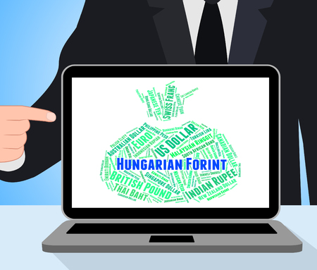 hungarian: Hungarian Forint Indicating Exchange Rate And Hungary