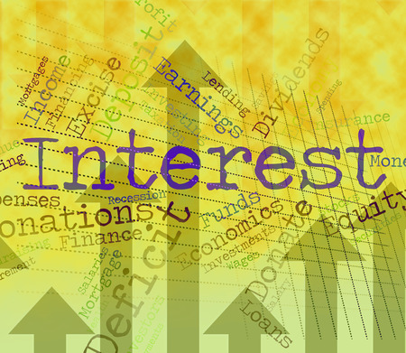 yield: Interest Word Indicating Profits Yield And Words Stock Photo