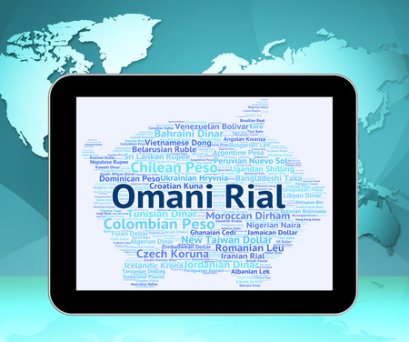 foreign currency: Omani Rial Showing Foreign Currency And Word