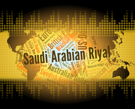 forex trading: Saudi Arabian Riyal Indicating Forex Trading And Words Stock Photo