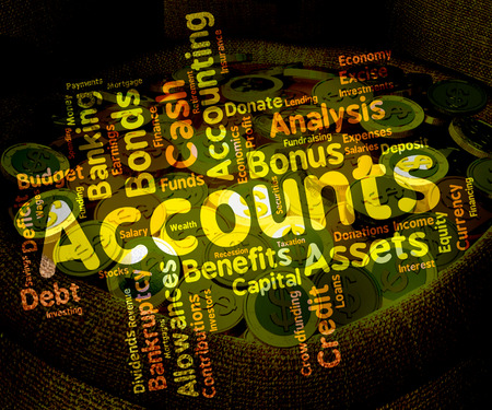 auditor: Accounts Words Showing Balancing The Books And Paying Taxes