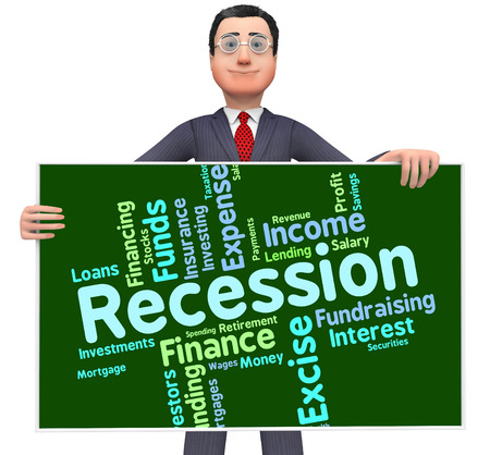 stagnation: Recession Word Showing Financial Crisis And Words