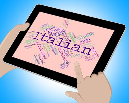 translator: Italian Language Indicating Translator International And Wordcloud