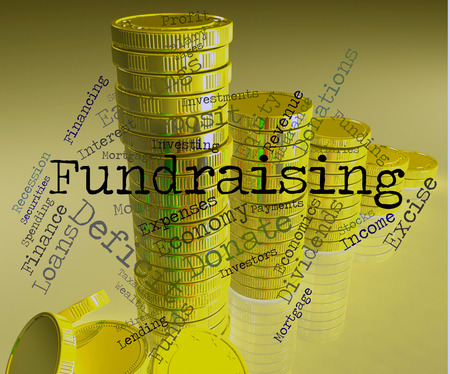 Fundraising Word Meaning Contributions Fundraises And Wordcloud Stock Photo