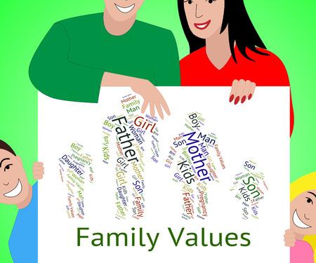 valores morales: Valores Familiares de indicación relativa Sangre Y Normas Foto de archivo