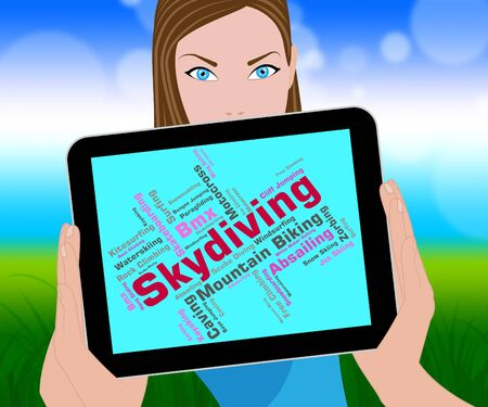 skydiving: Skydiving Word Representing Parachute Jump And Skydivers Stock Photo
