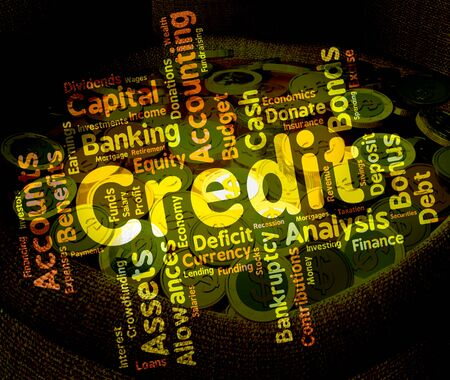 bankcard: Credit Word Showing Debit Card And Words Stock Photo