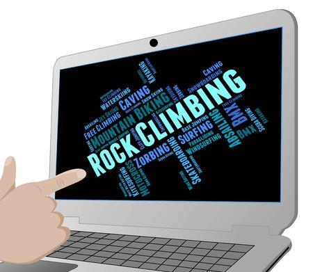 rockclimbing: Rock Climbing Showing Mountains Word And Rock-Climbing