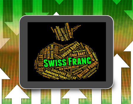 swiss franc: Swiss Franc Showing Currency Exchange And Currencies Stock Photo