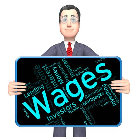 earns: Wages Word Showing Earning Revenues And Earns Stock Photo