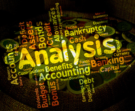 investigates: Analysis Word Meaning Data Analytics And Investigate Stock Photo