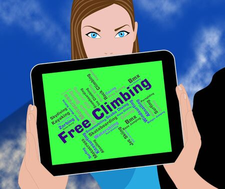 free climbing: Free Climbing Words Indicating Text Mountain And Climbers Stock Photo