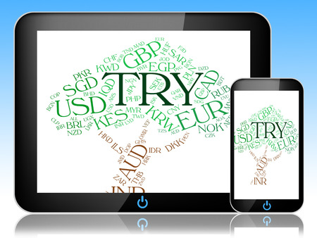 lira: Try Currency Meaning Turkey Lira And Text Stock Photo