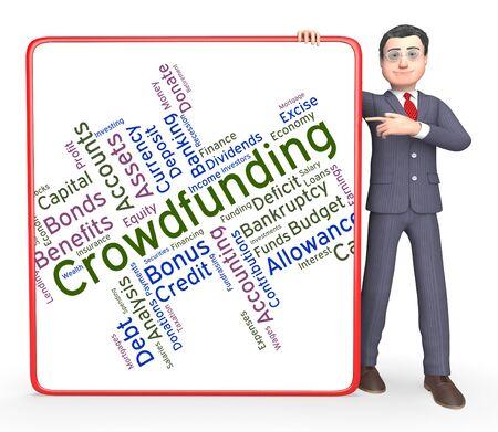 venture: Crowdfunding Word Representing Raising Funds And Venture Stock Photo
