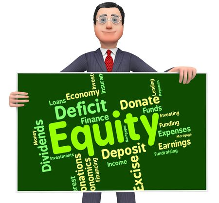 equidad: Equidad Palabra Indicando Recursos activos y Riqueza