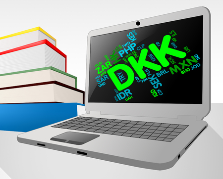 danish: Dkk Currency Indicating Danish Krones And Fx Stock Photo