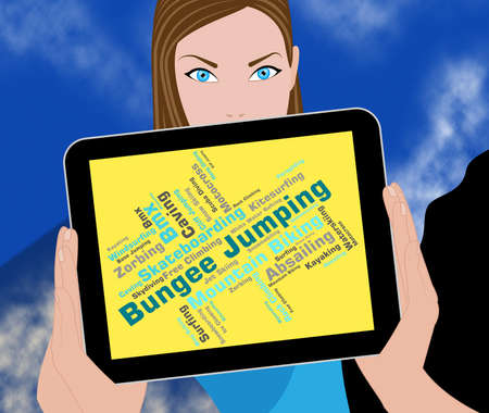 bungee jumping: Bungee Jumping Indicating Xtreme Word And Wordcloud