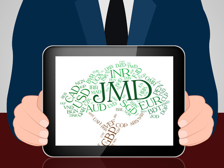exchange rate: Jmd Currency Showing Exchange Rate And Banknote Stock Photo