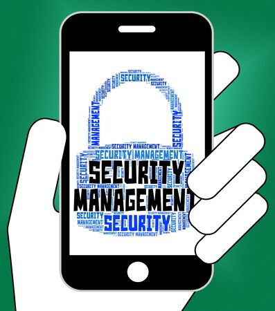 autoridad: Security Management Showing Protect Company And Authority Foto de archivo