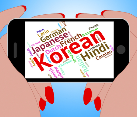 dialect: Korean Language Indicating Vocabulary Text And Translate Stock Photo