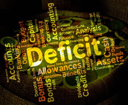 indebt: Deficit Word Showing Bad Debt And Indebted Stock Photo
