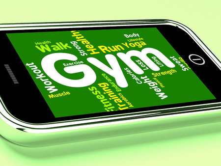 get a workout: Wordcloud Fitness Representing Working Out And Gymnasium Stock Photo