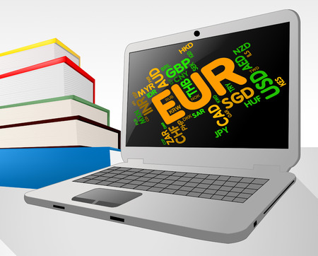 european exchange: Euro Word Showing Currency Exchange And Coinage Stock Photo