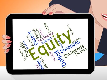 equity: Equity Word Indicating Resources Money And Fund Foto de archivo