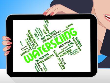 waterskiing: Waterskiing Word Representing Watersport Sport And Words
