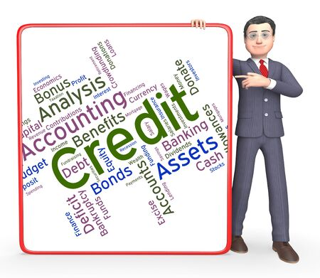 paying: Credit Word Representing Paying Shopping And Owe