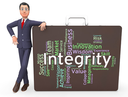 by virtue: Integrity Words Representing Decency Morality And Virtue Stock Photo