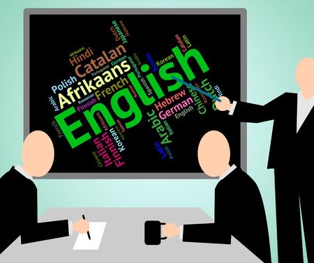 translator: English Language Showing International Translator And Word Stock Photo