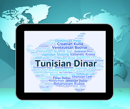 dinar: Tunisian Dinar Indicating Currency Exchange And Word